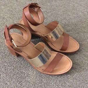 Zara Gold Natural Heeled Sandals